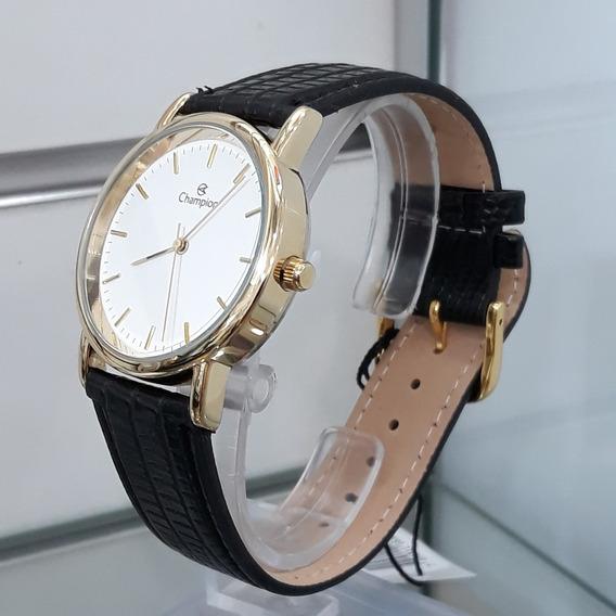 Relógio Social Champion Ch22260m Dourado Pulseira Couro