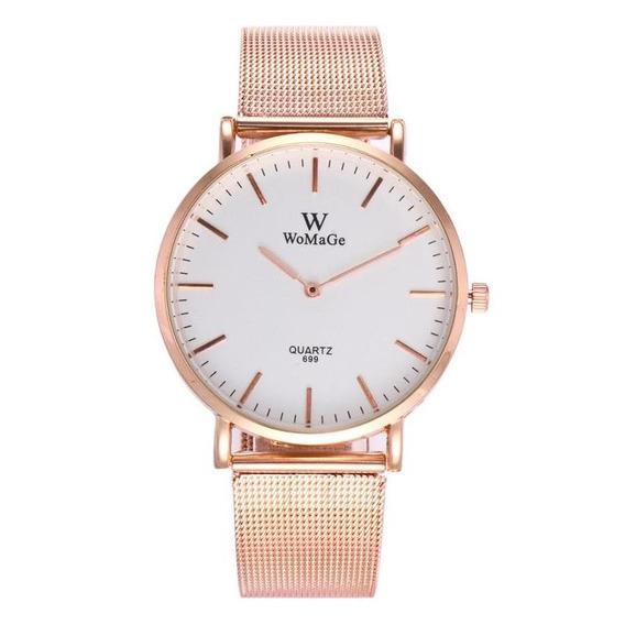 Moda Casal Quartz Relógio Casual Rose Ouro Malha Banda Relóg