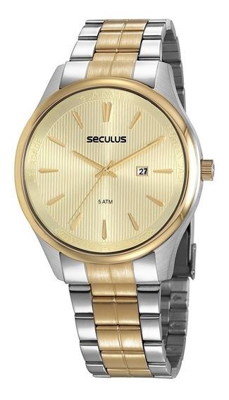 Relógio Masculino Seculus Prata/dourado +garantia +nf