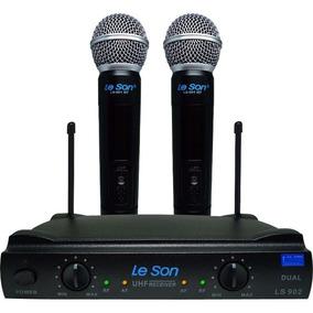 Microfone Duplo Sem Fio Ls 902 Uhf Ht Ht Preto - Leson