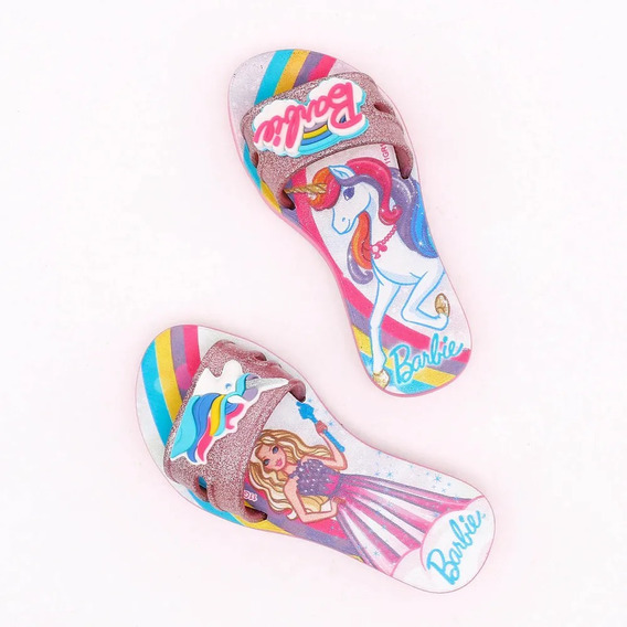 Chinelo Da Barbie E Unicórnio Slide Sandália Infantil Menina