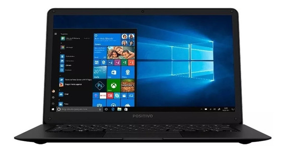 Notebook Positivo Motion Black Q232a Intel Atom Quad Core 2gb Ram Ssd 32gb Mini Hdmi Windows 10 - Mostruário De Loja
