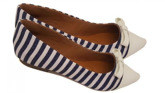 Sapatilha Listrada Com Laço - Azul Marinho/ Branco