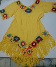 Saida De Praia Artesanal Tricot Croche Franjas Desfiada