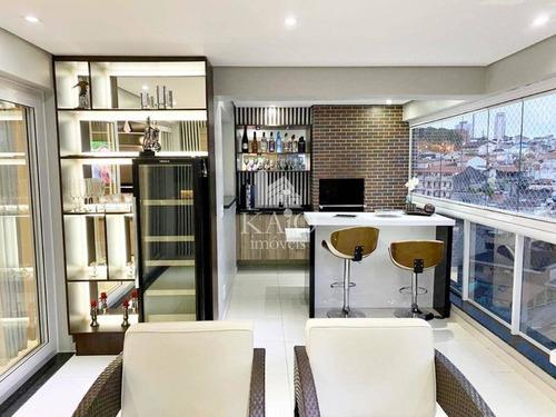 Apartamento 163m² Mobiliado 3 Suites Varanda Gourmet 4 Vagas
