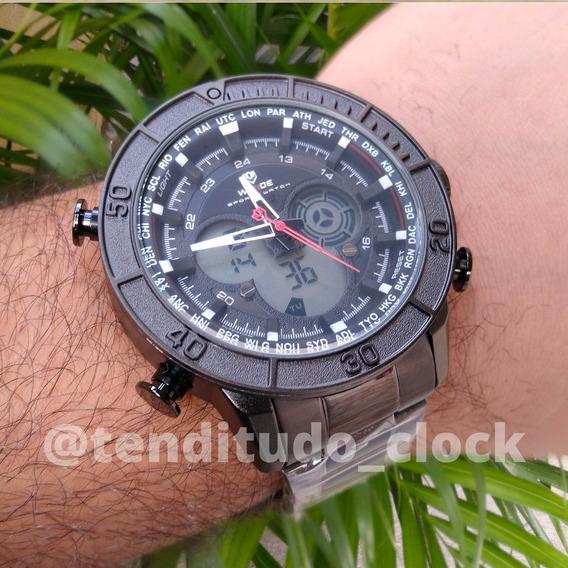 Relógio Preto De Aço Original Com Garantia - Anadigi Wh6308