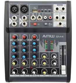 Amw Custom Sm4 Mesa De Som 4 Canais 2 Xlr 48v Mp3 Efx Dsp !