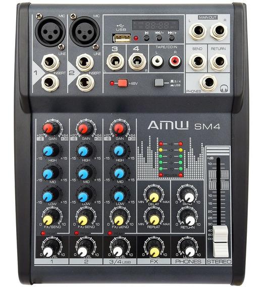 Amw Sm4 Pro Mesa De Som 4 Canais Mp3 Eq Xlr 48v Efx Loja Nfe