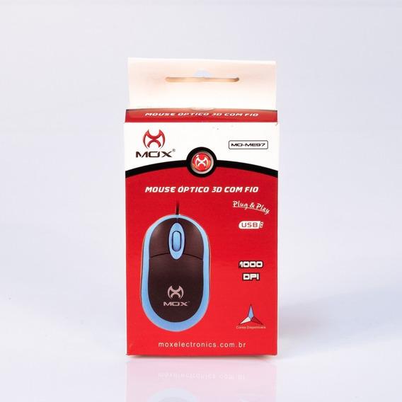 Mouse Óptico Usb 3d Com Fio Mox Me97 Ergonômico Azul