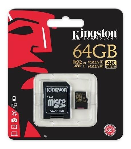 Memoria Micro Sd Kingston 64gb Clase 10 4k