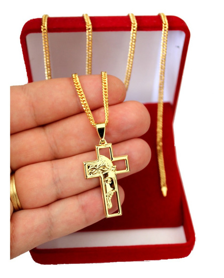 Corrente Masculina Banhado A Ouro 18k Cordão Face De Cristo