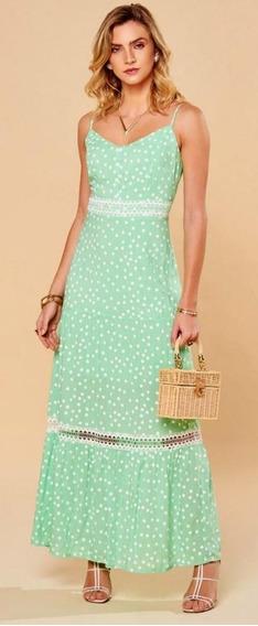 Vestido De Alcinha Longo Verde Menta Poa Tam M