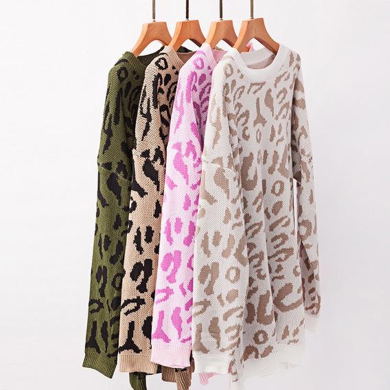 Suéter De Mujer Contraste Patrones De Leopardo Hombro Caído