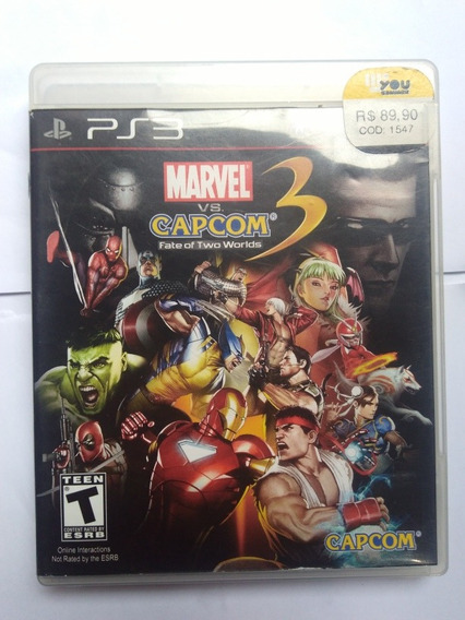 Jogo Marvel Vs Capcom 3 Fate Of Two Worlds Ps3 Fisica R$69,9