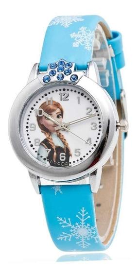 Relógio Infantil Elsa Ana Frozen Disney Criança Pedra Strass