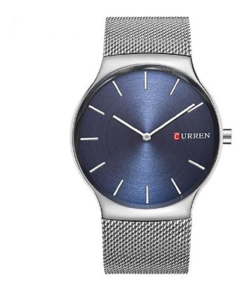 Relógio Quartzo Masculino Modelo Social Marca Curren Cobalto