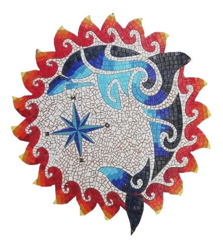Imagen 1 de 2 de Mosaico Medallón Delfín Con Brújula De 1.00 Mt. Para Alberca