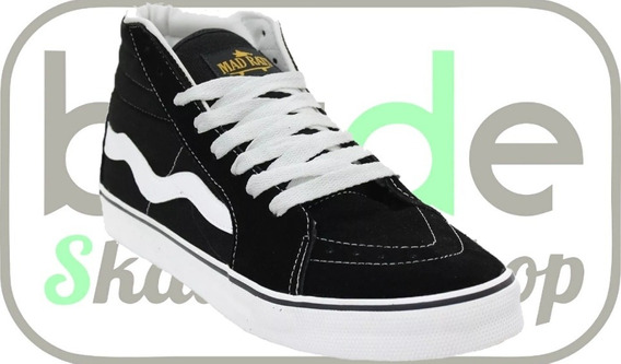 Tênis De Skate Hi Top Old School Preto Mad Rats