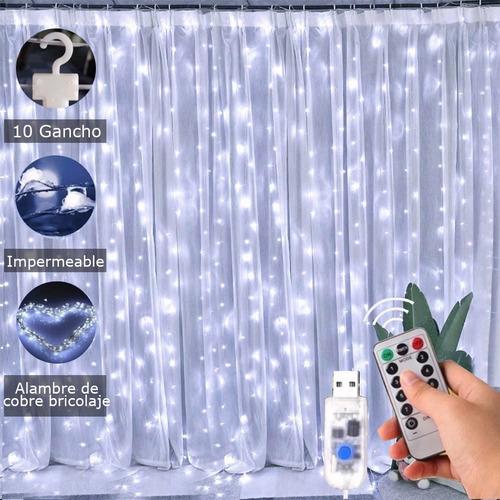 Decorativas Cortinas Luces De Navidad 300 Leds 8 Modos 3x3m