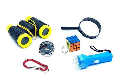 Imagem 1 de 1 de Kit Aventura Binoculo Infantil Amarelo 6 Itens