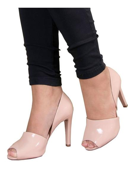 Peep Toe Sapato Salto Médio, Preto Ou Nude
