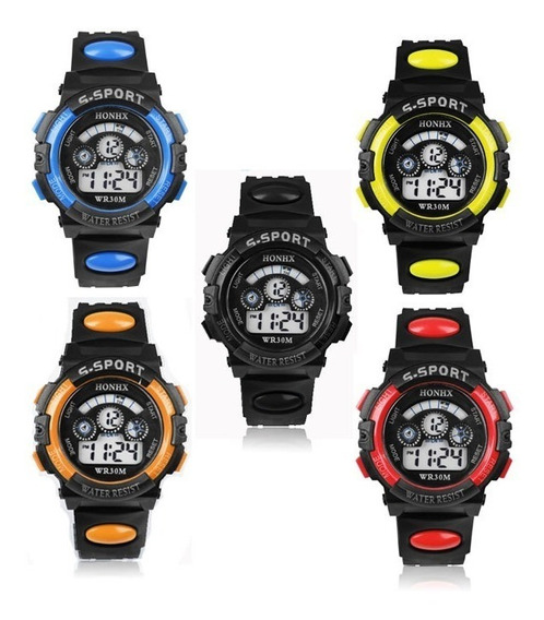 Kit C/ 05 Relógios Infantis Honhx Coloridos + Brinde