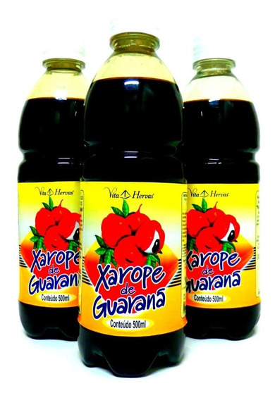 Combo 3 Vidros Xaropes De Guaraná 500ml Total 1500ml