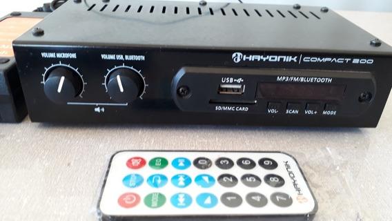 Amplificador Hayonik Compact 200 Com Bluetooth Usado Novinho