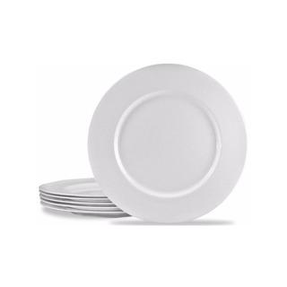 Set 12 Platos Plásticos Melamina Blancos Hondos Playos