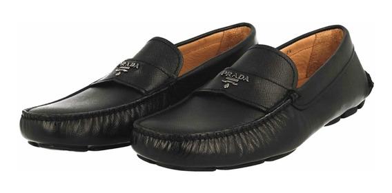 Zapatos Mocasines Prada Saffiano Italianos Negro 27 (gucci)