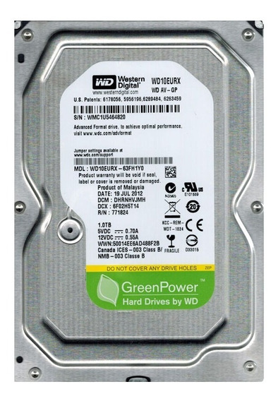 Disco Duro Western Digital 1tb 3.5 7200rpm 64mb Sata3 Pc/dvr