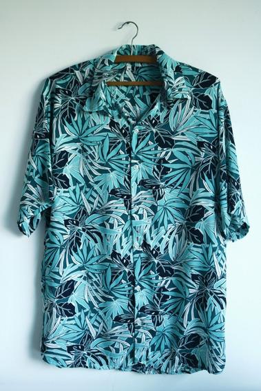 Camisa De Viscose Estampada Hawaiana