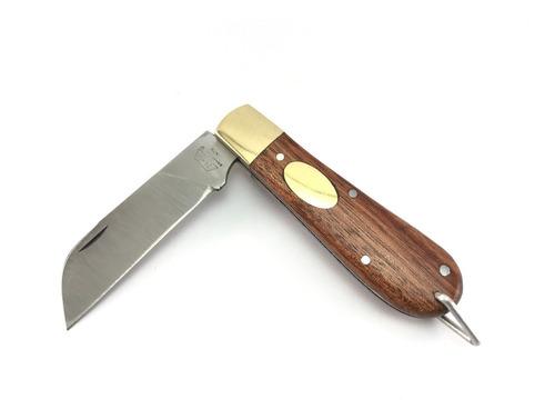 Imagem 1 de 8 de Canivete Zebu Barretos 610 Aço Inox Cabo Madeira Com Bainha