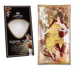 Plato En Cristal Rectangular 16x30cm Otoño Alphonse Mucha