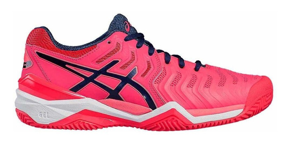 Zapatillas Asics Gel Resolution 7 Pink Fluo Cc Tenis Padel