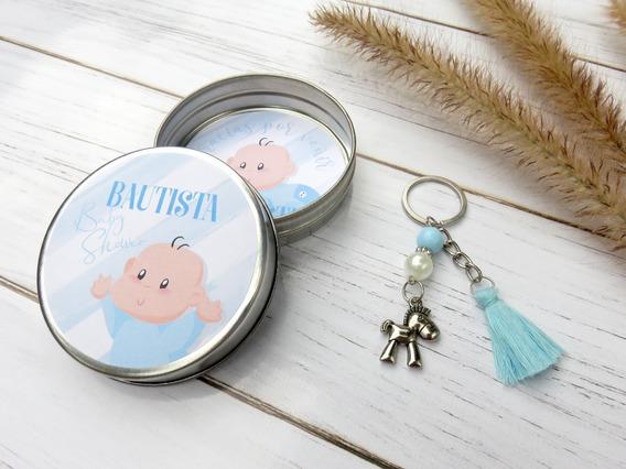 Souvenirs Baby Shower Personalizados Lata Con Llavero 10 Uni