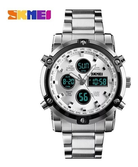 Relogio Masculino Skmei Dual Time Com Alarme, Cronometro,led E Timer, A Prova D