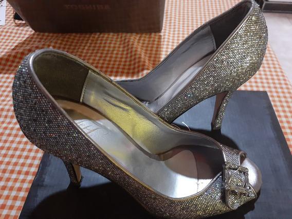 Zapatos De Fiesta Color Plateado