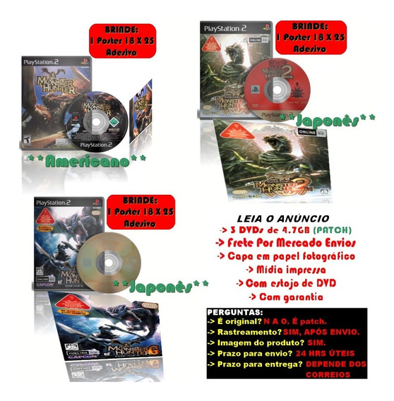 Kit Monster Hunter 1 + 2 + G Ps2 + Brindes Posteres Adesivo