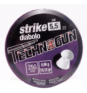 Caixa Chumbinho Technogun Strike Diabolo 5.5mm 250 Unidades