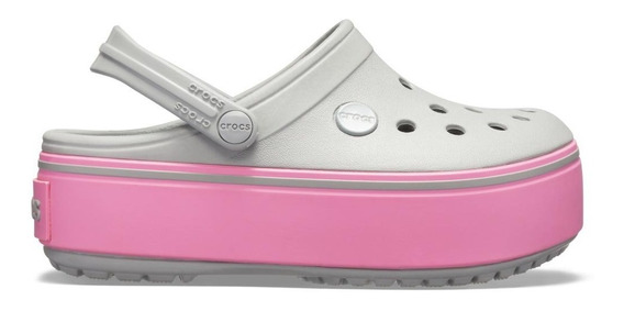 Crocband Platform Light Grey/pink Lemonade