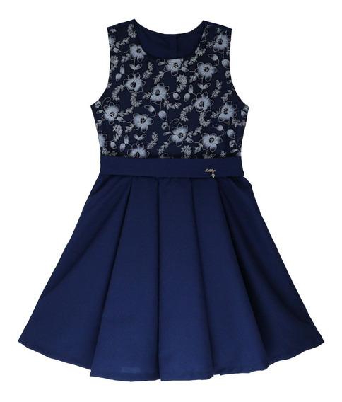 Vestido De Festa Infanto Juvenil Peito De Renda Azul Katitus Tam: 4 Ao 12 (1414)