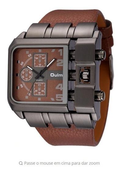 Relógio Masculino Rustico Marrom Aço Inoxidável Couro Oulm !