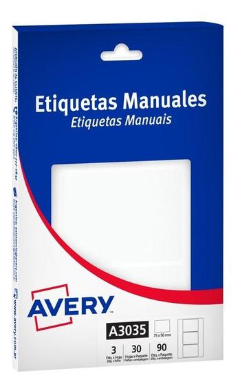 Etiquetas Avery Multiuso Blancas 75x50mm A3035