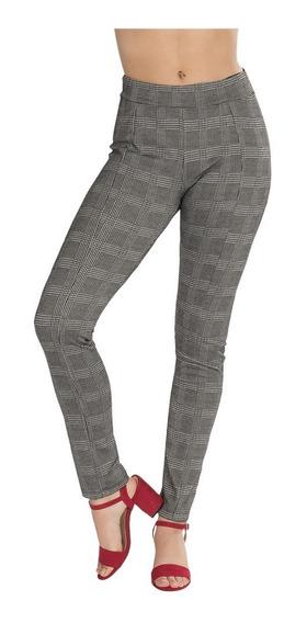 Leggins Mujer Gris Cuadros Skinny Moda W83107