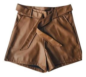Short Feminino Curto Cintura Alta Em Couro Fake Laço Corino