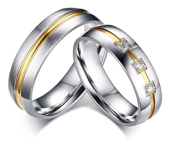 Par Alianças Banhado A Prata E Ouro Namoro Compromisso