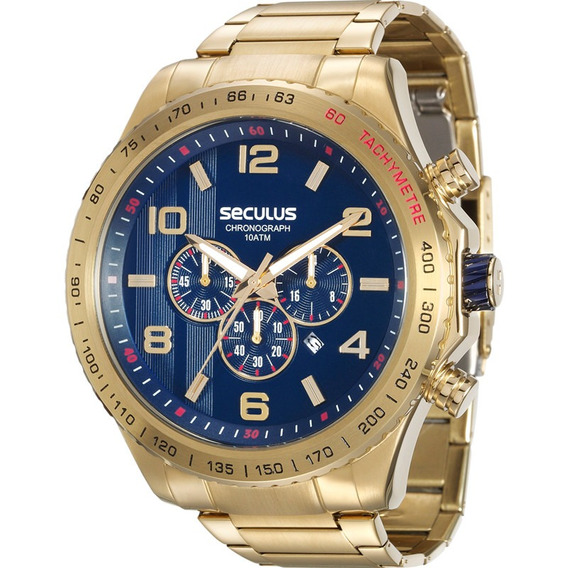 Relogio Masculino Dourado Fundo Azul Cronógrafo Seculus