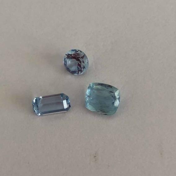 Água Marinha Lindo Trio Azul Santa Maria Com 3,6 Quilates