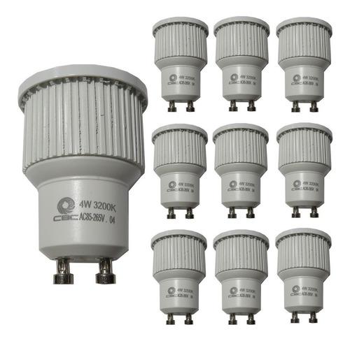 10 Lâmpada Led Dicróica 4w Alumínio Gu10 3200k Branco Quente